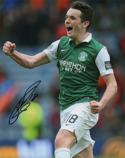 John McGinn, Hibernian, signed 10x8 inch photo.